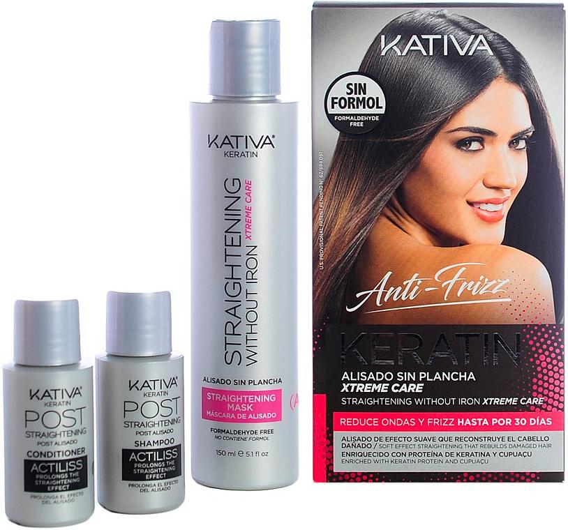 Haarpflegeset - Kativa Anti-Frizz Straightening Without Iron Xtreme Care (Haarmaske 150ml + Shampoo 30ml + Conditioner 30ml)