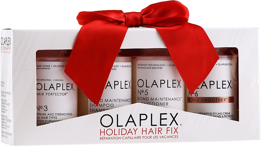Haarpflegeset - Olaplex Holiday Hair Fix (Conditioner für alle Haartypen 100ml + Shampoo 100ml + Haarcreme 100ml + Haarelixier 100ml)