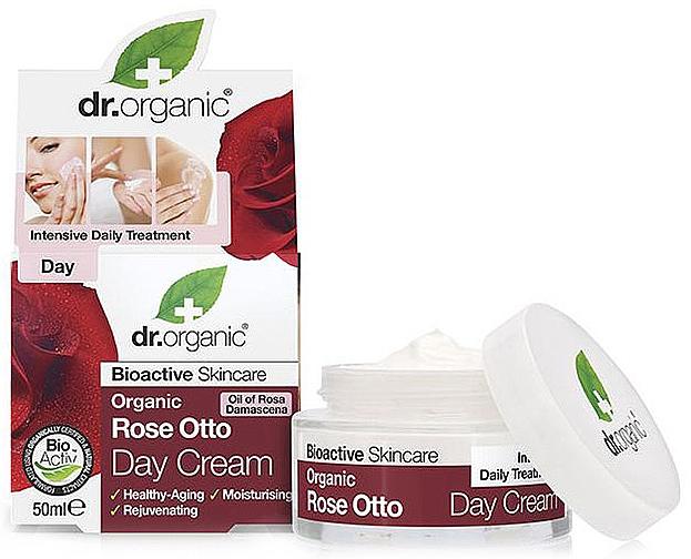 Nährende, feuchtigkeitsspendende und straffende Tagescreme mit Bio Rosenattar für reife Haut - Dr. Organic Bioactive Skincare Rose Otto Day Cream
