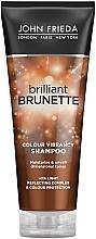 Düfte, Parfümerie und Kosmetik Feuchtigkeitsspendendes und farbschützendes Shampoo für dunkles Haar - John Frieda Brilliant Brunette Colour Protecting