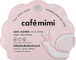 Düfte, Parfümerie und Kosmetik Anti-Aging Tuchmaske für das Gesicht mit Schneckenschleimfiltrat - Cafe Mimi Anti-Aging Fase Mask Snail Secretion