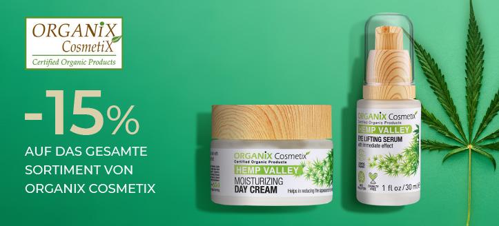 15% Rabatt auf das gesamte Sortiment von Organix Cosmetix. Die Preise auf der Website sind inklusive Rabatt