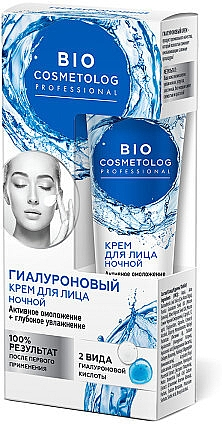 Verjüngende und feuchtigkeitsspendende Nachtcreme für das Gesicht mit Hyaluronsäure - Fito Kosmetik BioCosmetolog Prof