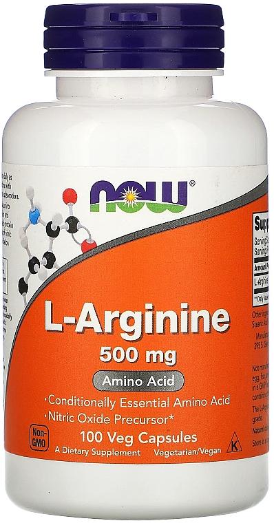 Nahrungsergänzungsmittel Aminosäure L-Arginin 500 mg in Kapselform - Now Foods L-Arginine Veg Capsules