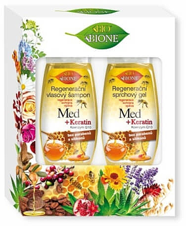Haarpflegeset - Bione Cosmetics Honey + Q10 (Shampoo 260ml + Duschgel 300ml)