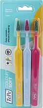 Düfte, Parfümerie und Kosmetik Zahnbürste weich Colour gelb, hellblau, rosa 3 St. - TePe Colour Soft