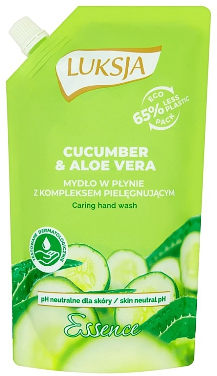 Cremige Flüssigseife mit Gurke und Aloe Vera - Luksja Cucumber & Aloe Soap (Doypack)