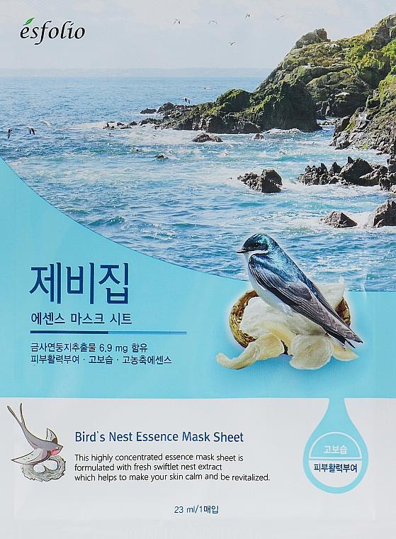 Revitalisierende und beruhigende Tuchmaske mit Salanganennest-Extrakt - Esfolio Bird's Nest Essence Mask Sheet