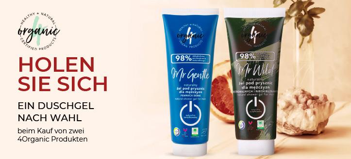 Beim Kauf von zwei 4Organic Produkten erhalten Sie ein Duschgel nach Wahl geschenkt