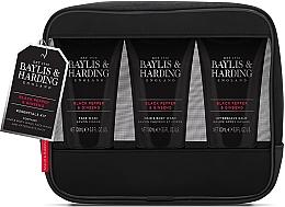 Düfte, Parfümerie und Kosmetik Körperpflegeset - Baylis & Harding Signature Men's Black Pepper & Ginseng Toiletry Bag (Shampoo-Gel für Kopfhaut und Körper 100ml + After Shave Balsam 100ml + Duschgel 100ml + Kosmetiktasche)