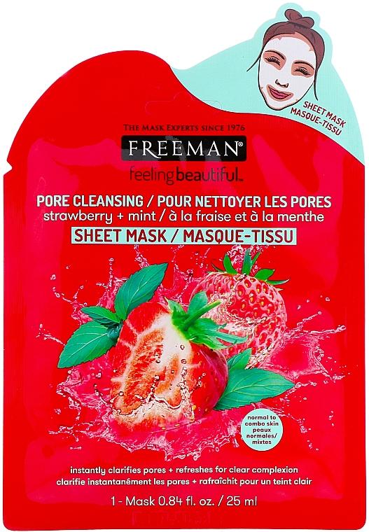 Tiefenreinigende Tuchmaske mit Erdbeere und Minze - Freeman Feel Beautiful Pore Cleansing Sheet Mask