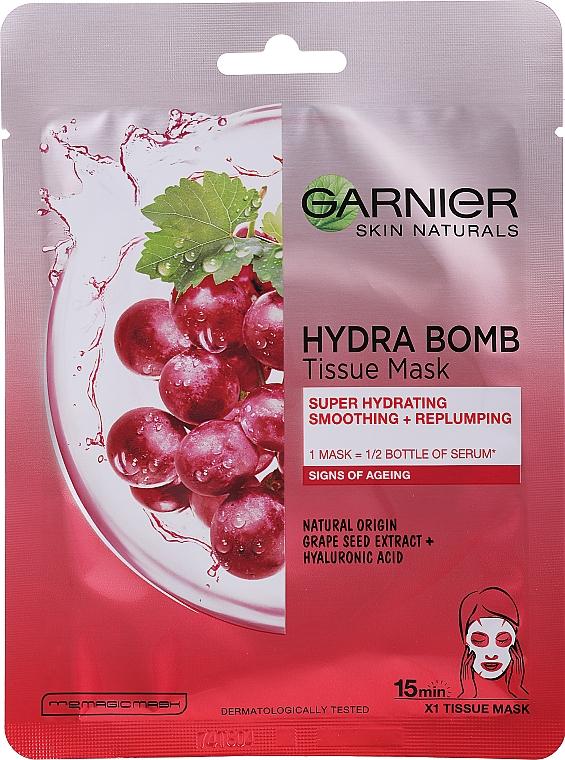 Beruhigende Gesichtsmaske mit Traubenkernöl und Hyaluronsäure - Garnier Skin Naturals Hydra Bomb