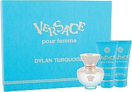 Düfte, Parfümerie und Kosmetik Versace Dylan Turquoise pour Femme - Duftset (Eau de Toilette 50ml + Körpergel 50ml + Duschgel 50ml)