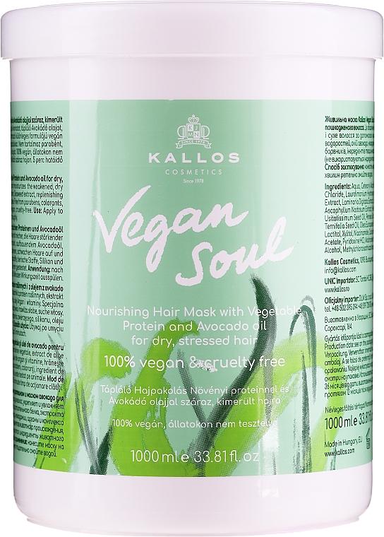 Pflegende Haarmaske mit pflanzlichen Proteinen und Avocadoöl - Kallos Cosmetics KJMN Vegan Soul Nourishing Hair Mask