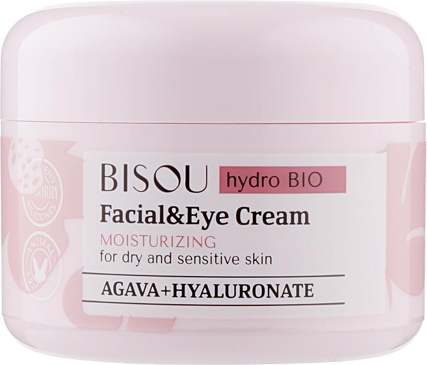 Feuchtigkeitsspendende Gesichts- und Augencreme für trockene und empfindliche Haut mit Hyaluronsäure und Agave - Bisou Hydro Bio Facial Eye Cream