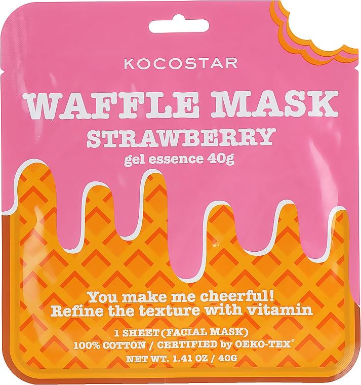 Ausgleichende und feuchtigkeitsspendende Waffel-Tuchmaske für das Gesicht mit Erdbeerextrakt - Kocostar Strawberry Waffle Mask