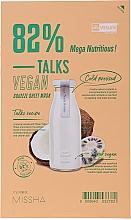Düfte, Parfümerie und Kosmetik Pflegende und feuchtigkeitsspendende Tuchmaske mit Noniextrakt und Kokosnuss - Missha Talks Vegan Squeeze Sheet Mask Mega Nutritious