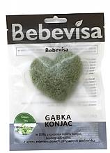 Düfte, Parfümerie und Kosmetik Peelingschwamm für Gesicht Grüntee mit Konjak-Wurzel - Bebevisa Konjac Sponge Heart