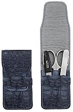 Düfte, Parfümerie und Kosmetik Maniküre-Set 3-tlg. mattblau mit Krokodilmuster - DuKaS Premium Line PL 1774MK