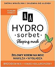 Düfte, Parfümerie und Kosmetik Feuchtigkeitsspendende und glättende Gesichtsgel-Creme für die Nacht mit Pfirsich und Hyaluronsäure - AA Hydro Sorbet Korean Formula Sleeping Mask