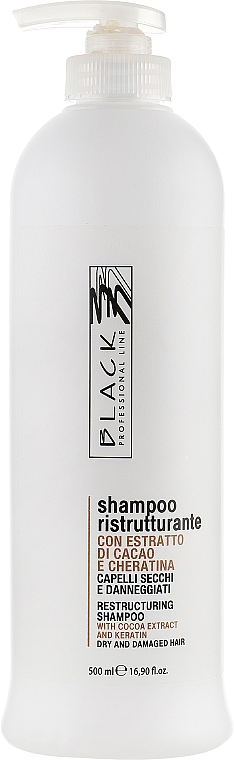 Restrukturierendes Shampoo mit Kakao-Extrakt und Keratin - Black Professional Line Chocolate & Keratin Shampoo