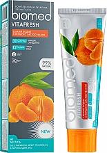 Düfte, Parfümerie und Kosmetik Zahnpasta mit Orangenfrische zur Stärkung des Zahnschmelzes - Biomed Vitafresh
