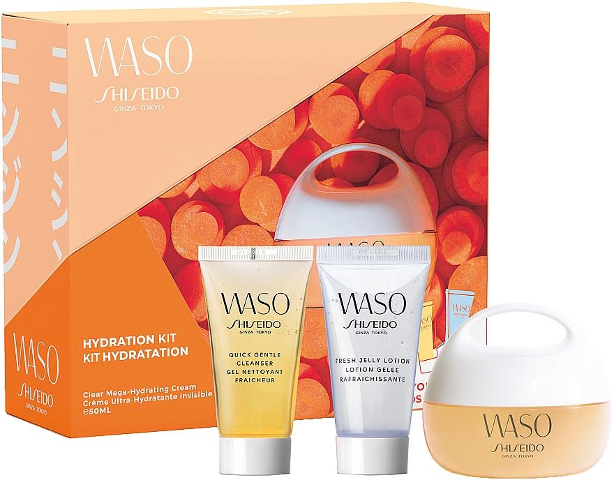 Gesichtspflegeset - Shiseido Waso Pack Mega HydratingCream Kit (Feuchtigkeitsspendende Gesichtscreme 50ml + Make-up Entferner 30ml + Gesichtslotion 30ml)