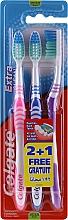 Düfte, Parfümerie und Kosmetik Zahnbürste mittel Extra Clean rosa, blau, violett 3 St. - Colgate Extra Clean Medium