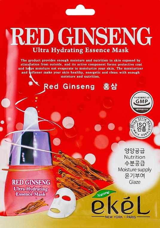 Ultra feuchtigkeitsspendende Tuchmaske für das Gesicht mit rotem Ginseng-Extrakt - Ekel Red Ging Seng Ultra Hydrating Essence Mask