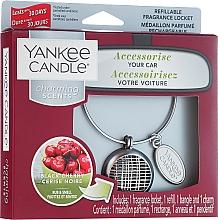 Düfte, Parfümerie und Kosmetik Autoduftanhänger - Yankee Candle Black Cherry Linear Charming Scents Starter Kit (Medaillon + Duftstein + Charm-Anhänger + Band)