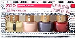 Düfte, Parfümerie und Kosmetik Starter Kit Nagelpflege & Nagellack-Set - Zao Limited Edition Christmas Nail Polish Box (Glasnagelfeile + Nagel- und Nagelhautpflegeöl + 3xNagellacke)