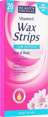 Enthaarungswachstreifen für Beine & Körper mit Vitamin E und Sheabutter - Beauty Formulas Wax Strips Hair Remover Legs & Body