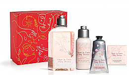 Düfte, Parfümerie und Kosmetik Körperpflegeset - L'Occitane Cherry Blossom (Duschgel 250ml + Körperlotion 75ml + Seife 50g + Handcreme 75ml)