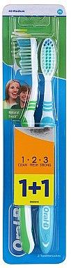 Zahnbürste mittel 1 2 3 Natural Fresh blau, grün 2 St. - Oral-B 1 2 3 Natural Fresh 40 Medium