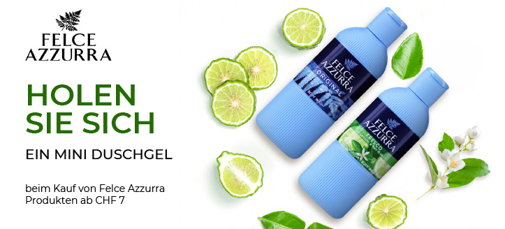 Beim Kauf von Felce Azzurra Produkten ab CHF 7 bekommen Sie ein Mini Duschgel nach Ihrer Wahl geschenkt