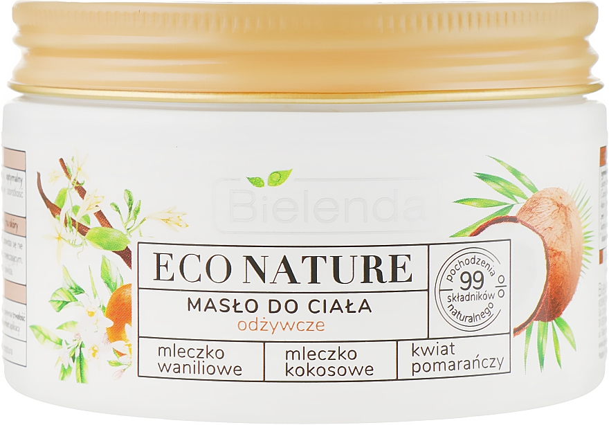Pflegende Körperbutter mit Vanilleextrakt und Kokosöl - Bielenda Eco Nature Body Butter Vanilla Coconut Milk Orange Blossom