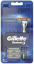 Düfte, Parfümerie und Kosmetik Rasierer mit 3 Ersatzklingen - Gillette Sensor 3