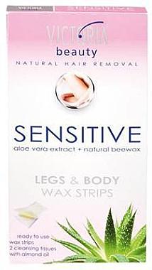 Enthaarungswachsstreifen für Körper und Beine mit Aloe Vera und natürlichem Bienenwachs - Victoria Beauty Sensitive Legs & Body Waxing Strips