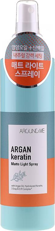 Feuchtigkeitsspendendes und regenerierendes Haarspray - Around Me Argan Keratin Matte Light Spray
