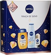 Düfte, Parfümerie und Kosmetik Körperpflegeset - Nivea Touch of Gold (Duschöl 200ml + Körperlotion 200ml + Deo Roll-On 50ml)