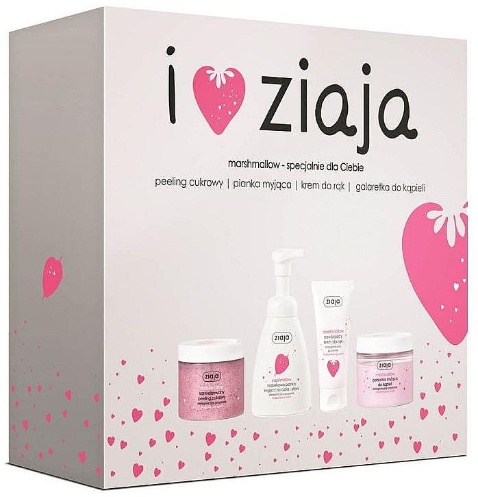 Körperpflegeset - Ziaja I Love Ziaja Marshmallow (Zuckerpeeling für den Körper 300ml + Handcreme 50ml + Duschgel 260ml + Badeschaum 250ml)