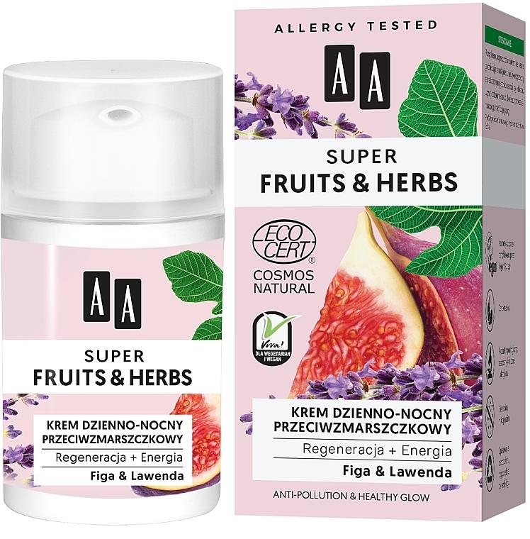 Regenerierende und energetisierende Gesichtscreme für Tag und Nacht mit Feige und Lavendel - AA Super Fruits & Herbs