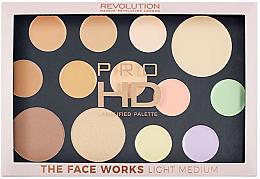 Düfte, Parfümerie und Kosmetik Highlighter Gesichtspalette - Makeup Revolution Pro HD The Works Palette