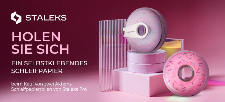 Beim Kauf von zwei Aktions-Schleifpapierrollen von Staleks Pro erhalten Sie ein selbstklebendes Schleifpapier nach Ihrer Wahl geschenkt