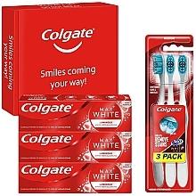 Düfte, Parfümerie und Kosmetik Zahnpflegeset - Colgate Box Max White Luminous (Zahnpasta 3x75ml + Zahnbürste 3 St.)