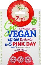 Düfte, Parfümerie und Kosmetik Erfrischende Tuchmaske mit Papayasaft, Granatapfel- und Litschi-Extrakt für strahlende Haut - 7 Days Go Vegan Friday Pink Day