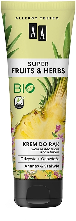Pflegende und erfrischende Handcreme Ananas & Salbei - AA Super Fruits & Herbs