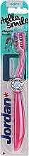 Düfte, Parfümerie und Kosmetik Kinderzahnbürste weich Hello Smile himbeerrot mit Magnet - Jordan Hello Smile Soft