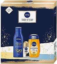 Düfte, Parfümerie und Kosmetik Körperpflegeset - Nivea Touch of Gold Set (Duschöl 200ml + Körperlotion 250ml + Deo Roll-on 50ml)