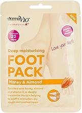 Düfte, Parfümerie und Kosmetik Tief feuchtigkeitsspendende Fußmaske in Socken mit Honig und Mandel - Derma V10 Peel Foot Pack Honey & Almond Socks